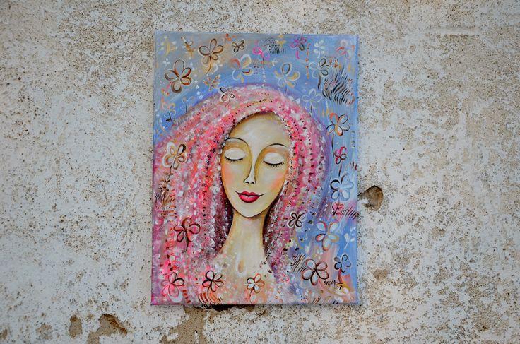 Něžná+Malba+a+kresba+na+plátně.+Malba+převážně+akrylovými+barvami+na+plátno+a+akvarelovými+pastelkami.+Kombinace+malby+a+kresby.+Malba+fixována+lakem.+Jsou+malovány+i+boky+plátna,+netřeba+rámovat.+Rozměr+40+x+30+cm.