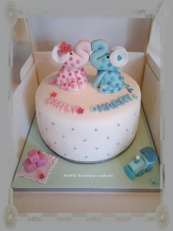 Elephant Christening for Emily & Harry - Cake by AWG Hobby Cakes