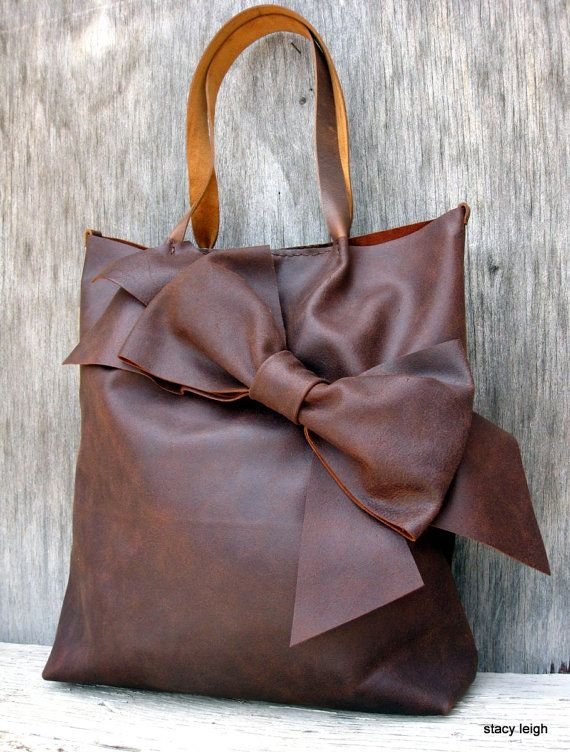 Chocolate Brown Bow Tote Bag in Distressed Matte Brown Leather by Stacy Leigh on Etsy, $363