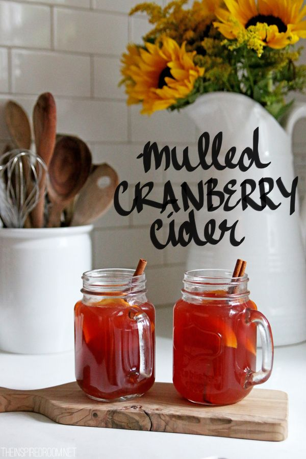 Mulled Hot Cranberry Apple Cider. The perfect hot drink to serve guests from @theinspiredroom
