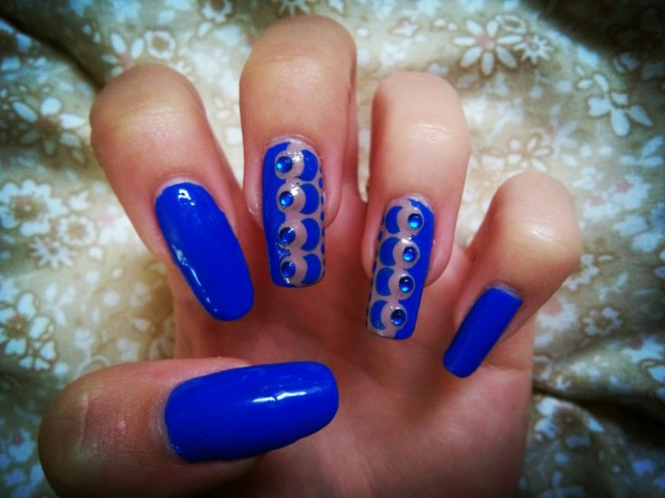 blue and nude nail design