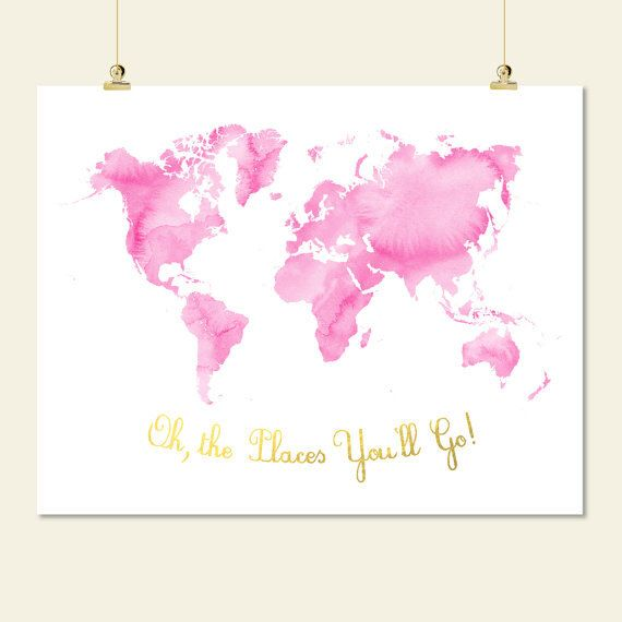 pink and gold nursery world map watercolor oh the places youll go printable baby girl room wall art decor digital print instant download jpg by SunnyRainFactory on Etsy https://www.etsy.com/listing/211558158/pink-and-gold-nursery-world-map
