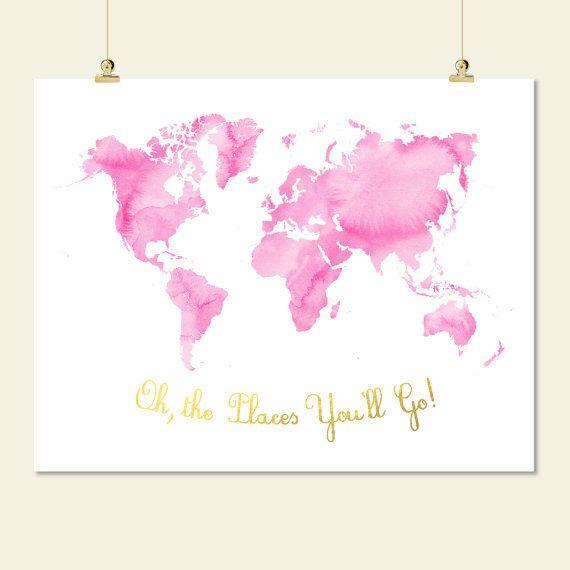 roze en gouden kwekerij wereld kaart aquarel oh de plaatsen ga je afdrukbare baby meisje kamer muur kunst decor digitale print instant download jpg door SunnyRainFactory op Etsy https://www.etsy.com/nl/listing/211558158/roze-en-gouden-kwekerij-wereld-kaart