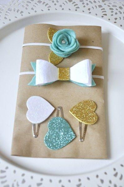 5pc adornos para pelo para las niñas - lazo rose de Loiseaubleu por DaWanda.com