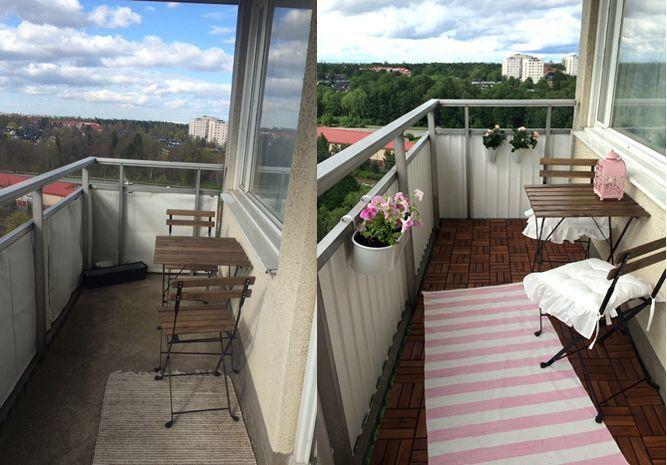 Målat balkongräcke med fönsterfärg från ÖoB.