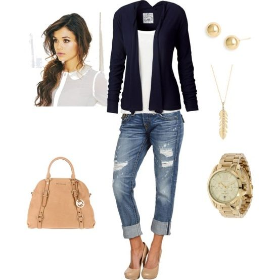 Casual Chic Fall look...boyfriends, black blazer, cami, nude heels & bag = marvelous!