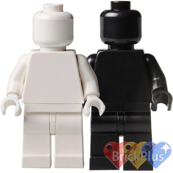 Lego Set/2 Custom Black and White Plain Minifigure by Brick2you on Etsy