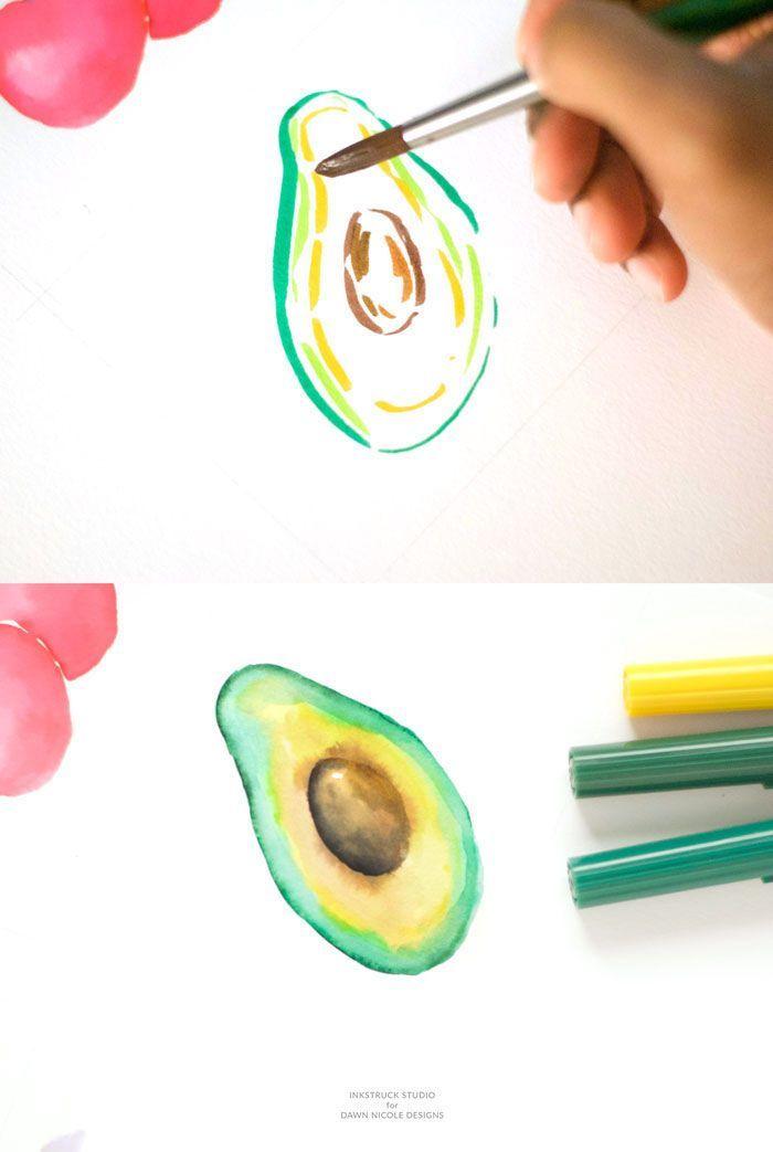 Avocado Zeichnen Mit Filzstiften Und Aquarellfarben Zeichnen Fur
