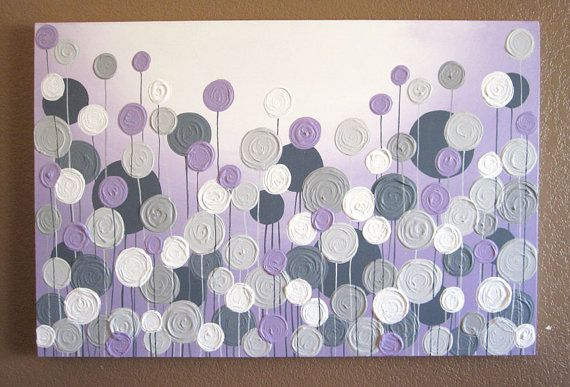 Light Purple and Grey Textured Painting, Abstract Flowers, Large 24x36 Acrylic Painting on Canvas via Etsy
