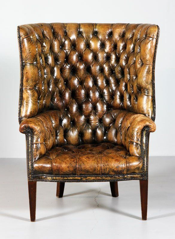 "19th century, Chesterfield English style gentleman's smoking chair, tufted leather with original patina, 47""h x 34 1/2""w x 30""d. Provenance: Fishers Island, NY estate."