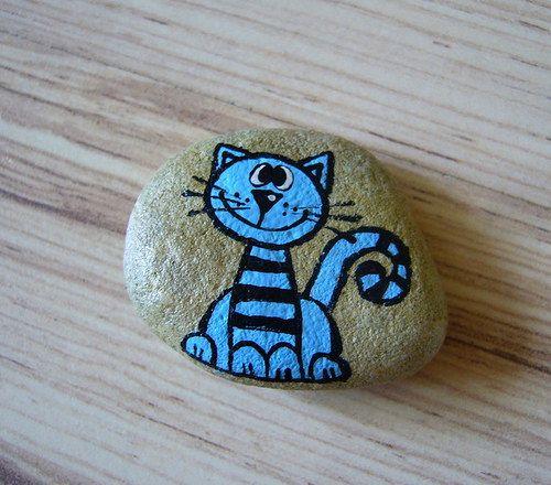 malovaný kamínek KOČIČKA