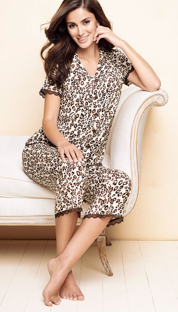 Soma Embraceable Pajamas: Short Sleeve Notch Collar Top & Crop Pant in Sketched Skin Print