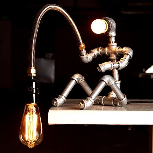 Dimming Interior Design Industrial Lighting Vintage Retro Novely Antique Rustic Robot Fisherman Rustic Iron Plumbing Pipe Table Lamp Bedside Living Edison Steampunk 110-120V.