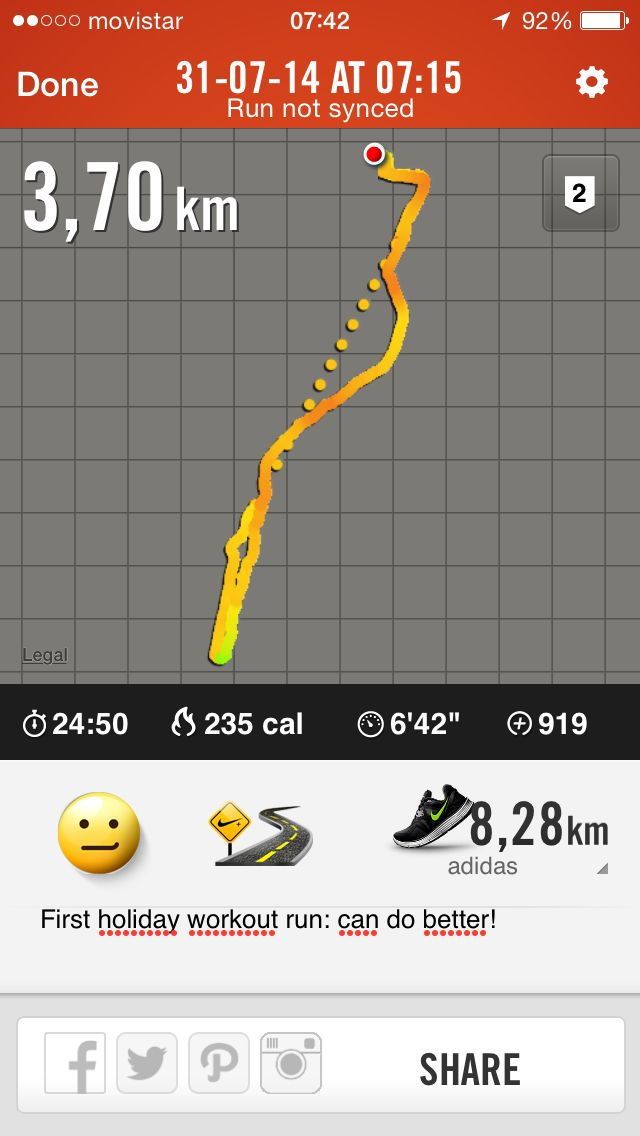 Eerste vakantie workout run: kan veel beter!