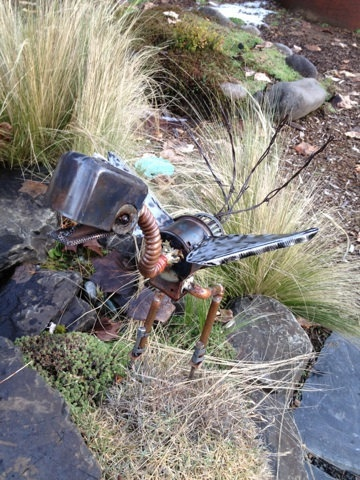 Scrap Metal Bird Garden Art. $35.00, via Etsy.
