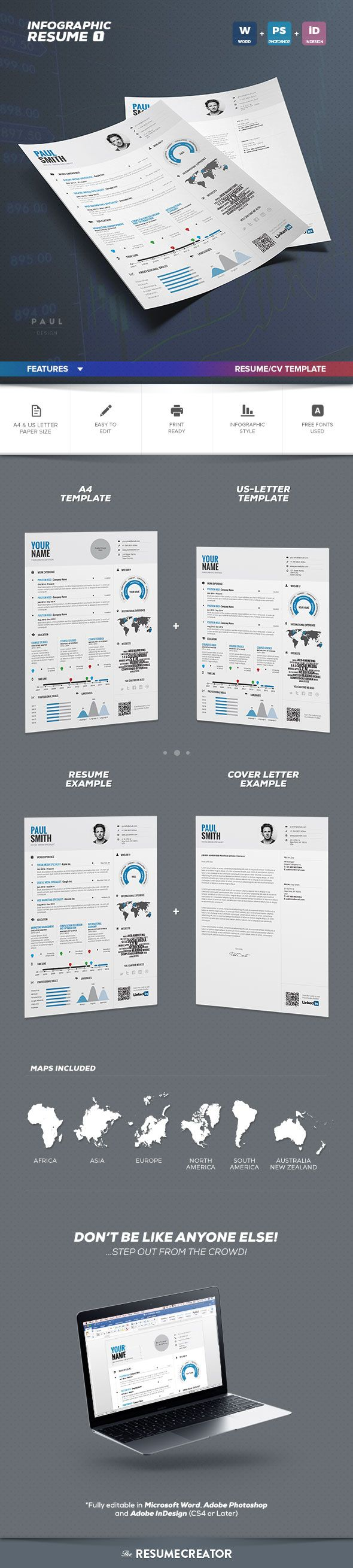 Professionally designed, easy-to-edit template package for the #job #seeker who wants to leave an unforgettable impression. Fast track your job search with a resume as professional, creative, and versatile as you are! Fully customizable in Adobe #Photoshop, #Adobe #InDesign and in #Microsoft Word. Unlimited edits for use again and again!  #resume #cv #lebenslauf