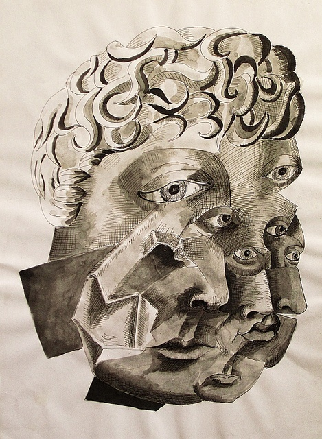 Janus by Harry Kent, ink on paper.