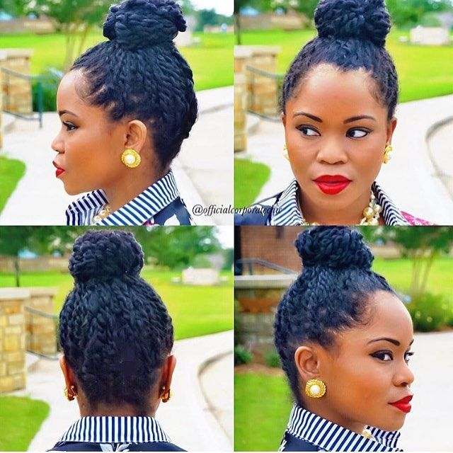 We gon' slay! @officialcorporatechic || This is the perfect summer style. Mini twists all bunned up!