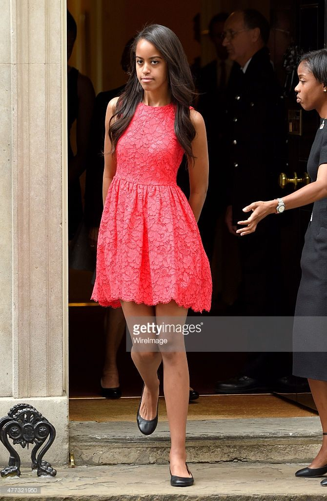 Malia Ann Obama departs after her visit of 10 Downing Street on June 16, 2015 in London, England.
