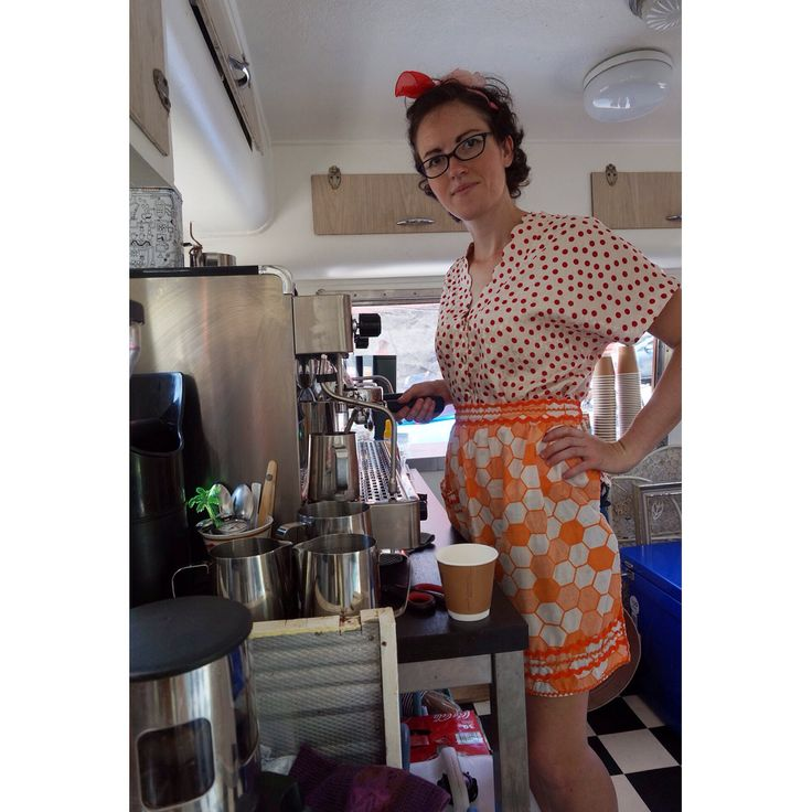 Workin' it... :)  #barista #femailebarista #thecuriouscaravan #barhire #coffeevan #brisbane #goldcoast #sunshinecoast #weddinghire #partyhire #photobooth #vintagecaravan