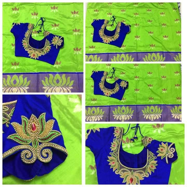 Neon green Saree with contrast blue blouse embroidered with lotus motif