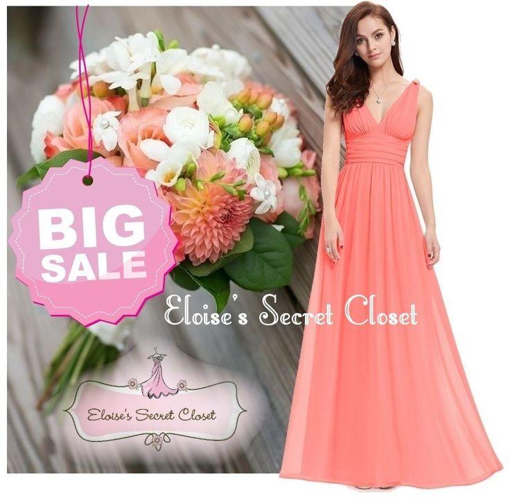 Coral maxi bridesmaid dresses