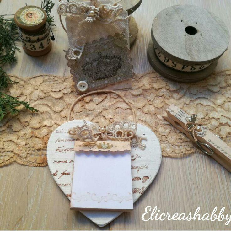 Notes a cuore con calamita , mollettina e tag abbinate  Stile vintage Elicreashabby