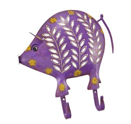 Distressed Finish Purple Pig 2 Hook Wall Mounted Coat Rack by Things2Die4. $16.99. Makes A Great Gift. Made of Metal. 10 1/2 Inches Tall. This beautiful purple pig 2 hook wall mounted hanger can be used for many different things. In the kitchen, it can be a mug rack for coffee mugs. In the hallway, you can hang your coats and sweaters from it. In the bedroom, hang hand scarves and other accessories! The hanger measures 10 1/2 inches tall, 10 inches wide, and features an artifici...
