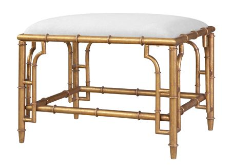 bungalow 5 COLLETTE STOOLCOL-500-808 FAUX BAMBOO METAL: ANTIQUE GOLD FINISH