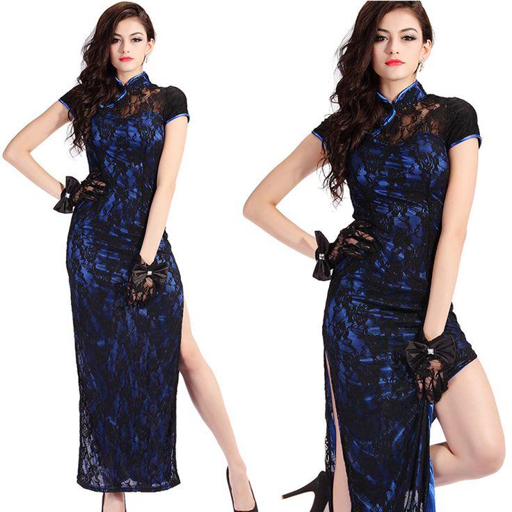 Marvelous Roses Lace Long Cheongsam Dress - Blue - Qipao - Cheongsam - Women