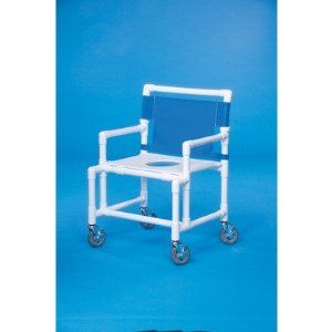 Oversize Shower Chair with Flat Seat Mesh Backrest Color: Suncast Blue by Innovative Products Unlimited. $409.49. SC200 OS FS-SUN Mesh Backrest Color: Suncast Blue Features: -Shower chair.-Flat toilet seat.-Convenient push bar.-Weight capacity: 450 lbs.-24'' Between the arms.-20'' Clearance. Options: -Mesh backrest available in several colors. Dimensions: -5'' Heavy duty casters.-Dimensions: 39.25'' H x 25.5'' W x 25.5'' D.
