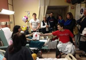 Jeff Bauman, who helped identify the Boston Marathon bombers afer losing both his legs in the terror attack, presented a special 18th birthday present Tuesday to Sydney Corcoran, also seriously injured by the Patriots Day blasts.