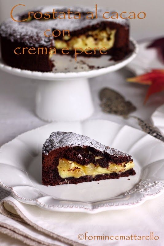 Cutters and rolling pin: Fruit Cakes TART WITH CHOCOLATE CREAM AND PEARS