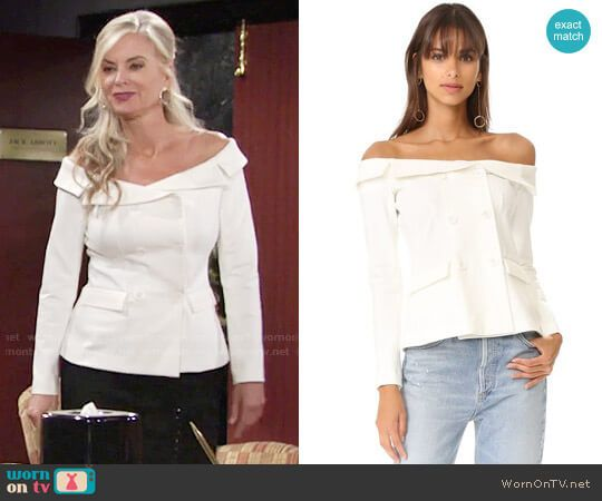 Ashley's white off-shoulder jacket on The Young and the Restless.  Outfit Details: https://wornontv.net/76614/ #TheYoungandtheRestless