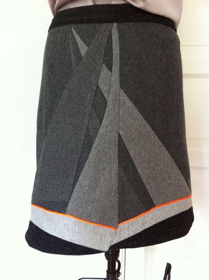 """""""When boats meet"""", woolen skirt, free design assignment (own pattern) by nina dirix"""