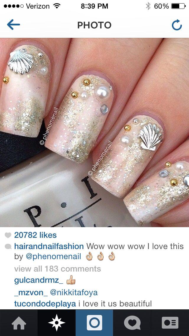 I love this design!!! Seashell nail art