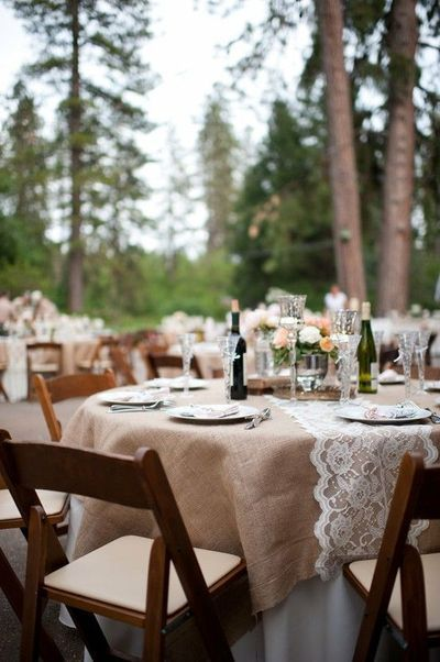 love the burlap with lace overtop: Decor, Ideas, Tables Sets, Burlap Tables, Burlap Lace, Wedding, Tables Runners, Lace Runners, Lace Tables