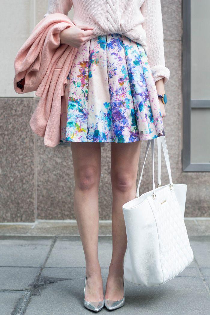 floral skirt + blush knits