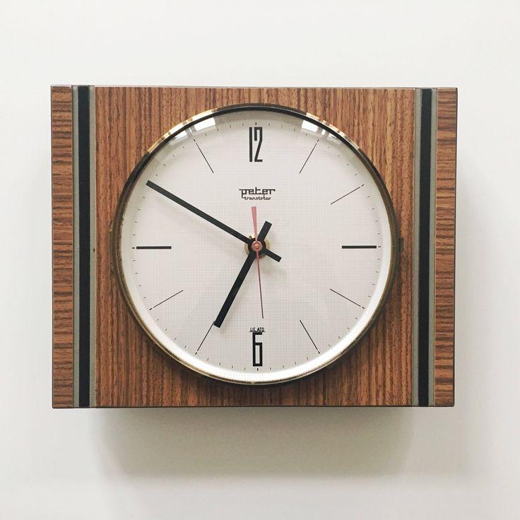 Mid century Modern Minimalist Wall clock by Peter German 60s 1960s Teak Wood