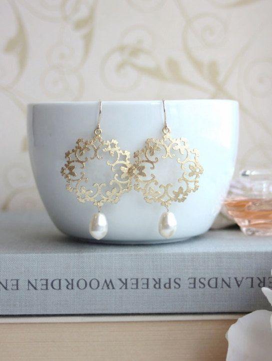 Crema avorio perla filigrana orecchini marocchina Boho Gypsy