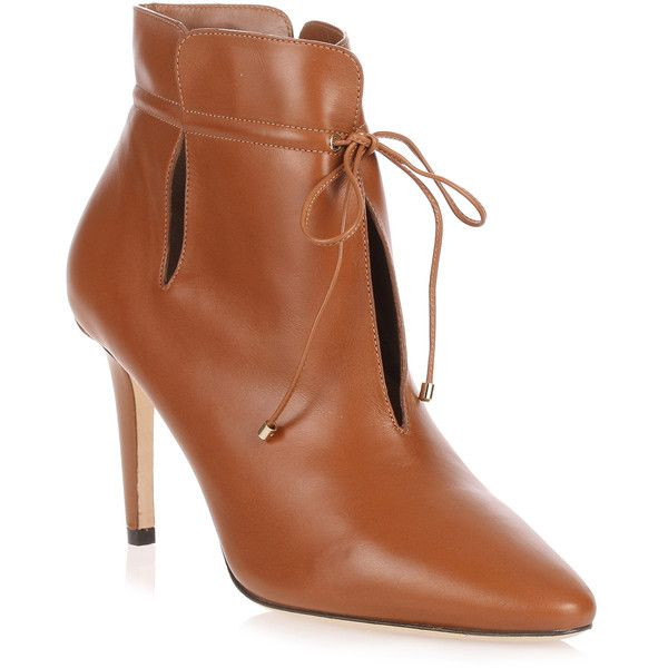 Murphy Tan Leather Ankle Boot (26 280 UAH) ❤ liked on Polyvore featuring shoes, boots, ankle booties, brown, leather ankle boots, tan ankle boots, brown ankle booties, brown leather boots and cut-out ankle boots