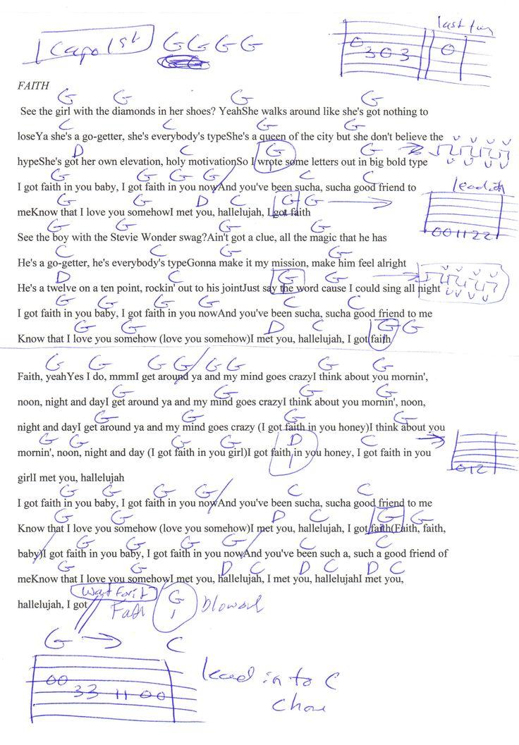 Faith Stevie Wonder Guitar Chord Chart Capo 1st Music Chords