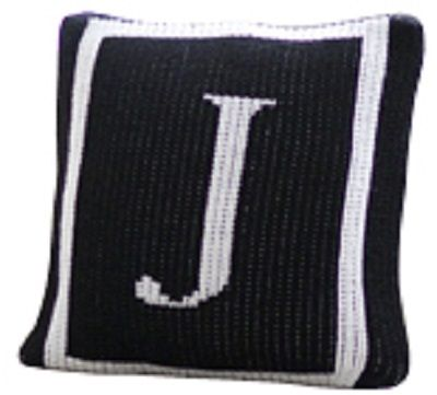 Black and white monogram wool pillows with single initial and square border, Throw pillow, home decor accessories.
