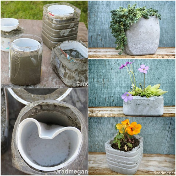 Macetas con cemento macetas pinterest - Como hacer cemento ...