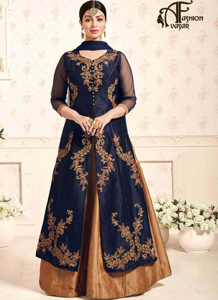 Blue salwar suit online shopping – Achkan Silk buy salwar kameez online