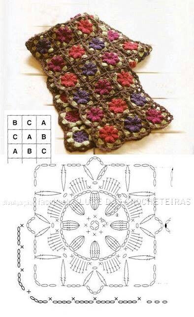 Crochet flower scarf chart. Unit rose flower crochet pattern
