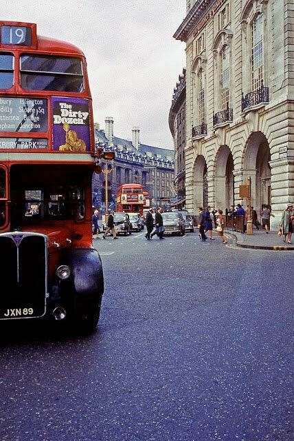 Double decker buses at Regent Street, 1960s. Old London