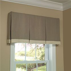 box pleat valance - this would look pretty over windows in a different fabric if we don't go with the woven woods but use a neutral remote blackout shade underneath or a remote roman.