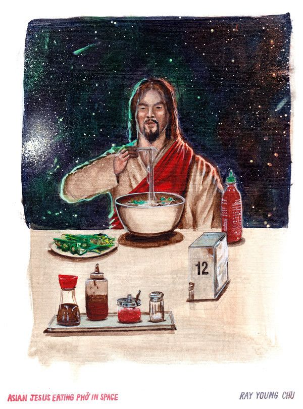 """Asian Jesus Eating Phở in Space 8.5 x 11"""" Print"""