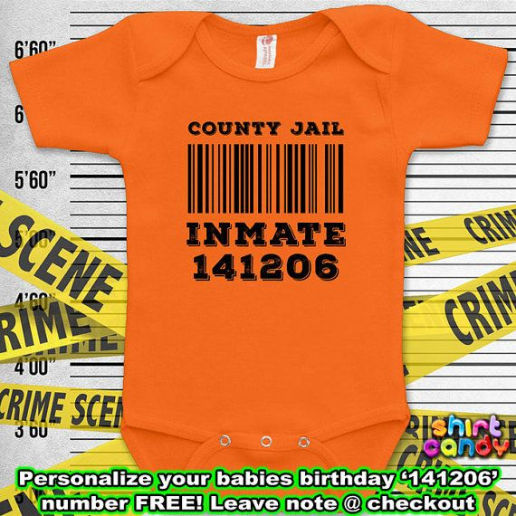 Adorablely Cute County Jail Inmate Costume Funny Baby Prison Outfit Bodysuit One Piece Personalie Clothes Romper Baby Boy Unique Shower Gift For Her